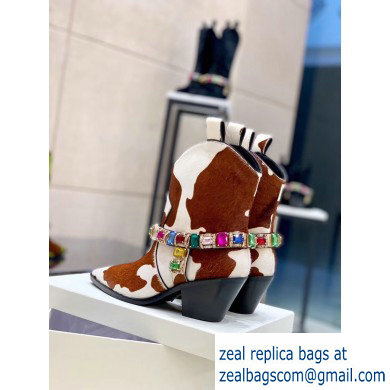 Casadei Heel 8cm Rodeo Crystals Cowboy Ankle Boots White/Brown 2019