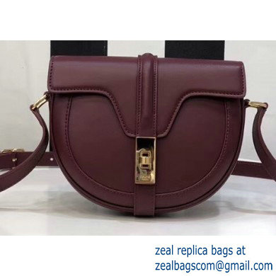 Celine Small Besace 16 Bag in Satinated Calfskin Burgundy 2019