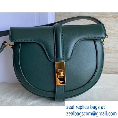 Celine Small Besace 16 Bag in Satinated Calfskin Dark Green 2019