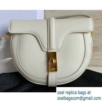 Celine Small Besace 16 Bag in Satinated Calfskin White 2019