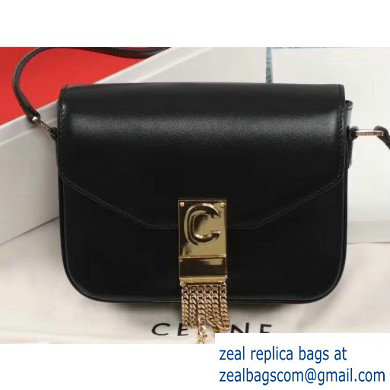 Celine Small C Bag with Pampille in Shiny Calfskin Black 2019