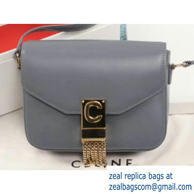 Celine Small C Bag with Pampille in Shiny Calfskin Gray 2019