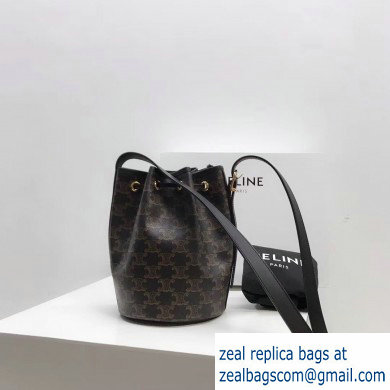 Celine Small Drawstring Bucket Triomphe Canvas Bag Black 2019