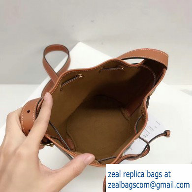 Celine Small Drawstring Bucket Triomphe Canvas Bag Brown 2019