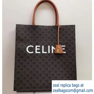 Celine Vertical Cabas Triomphe Canvas Large Tote Bag Brown 2019