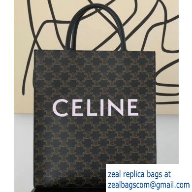 Celine Vertical Cabas Triomphe Canvas Small Tote Bag Black 2019
