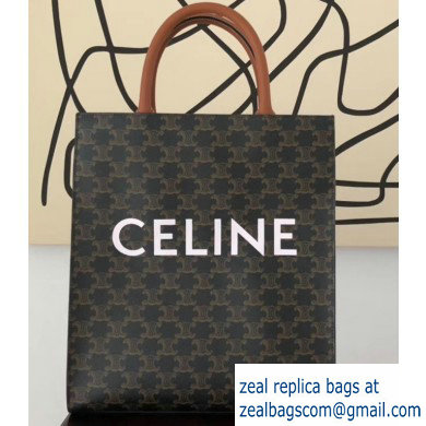 Celine Vertical Cabas Triomphe Canvas Small Tote Bag Brown 2019