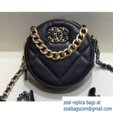 Chanel 19 Chain Round Clutch with Chain Bag Black 2019