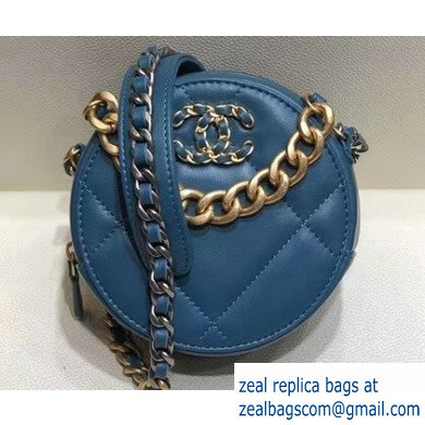 Chanel 19 Chain Round Clutch with Chain Bag Turquoise 2019