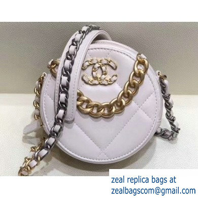 Chanel 19 Chain Round Clutch with Chain Bag White 2019
