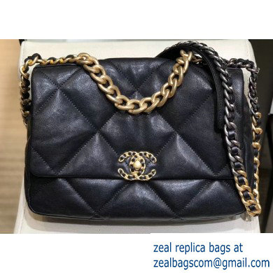Chanel 19 Large Leather Flap Bag AS1161 Black 2019