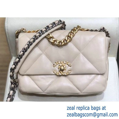 Chanel 19 Small Leather Flap Bag AS1160 Beige 2019