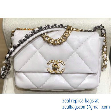 Chanel 19 Small Leather Flap Bag AS1160 White 2019