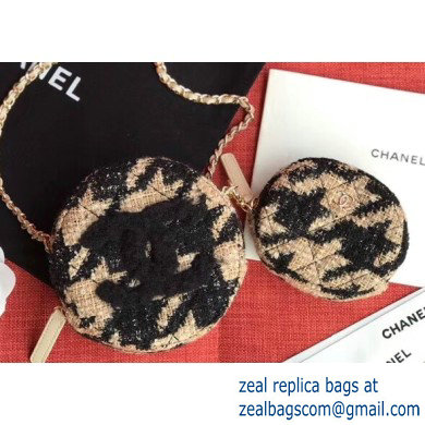 Chanel 19 Tweed Clutch with Chain Bag and Coin Purse AP0986 Black/Apricot 2019