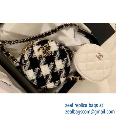Chanel 19 Tweed Clutch with Chain Bag and Coin Purse AP0986 Black/White 2019