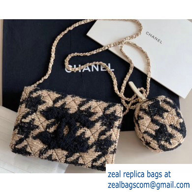 Chanel 19 Tweed Wallet on Chain WOC Bag and Coin Purse AP0985 Apricot 2019