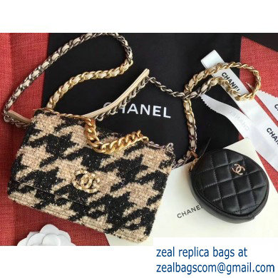 Chanel 19 Tweed Wallet on Chain WOC Bag and Coin Purse AP0985 Black/Apricot 2019