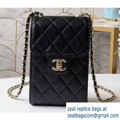 Chanel Classic Clutch with Chain Phone Bag AP0249 in Grained Calfskin Black
