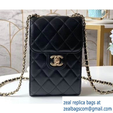 Chanel Classic Clutch with Chain Phone Bag AP0249 in Lambskin Black