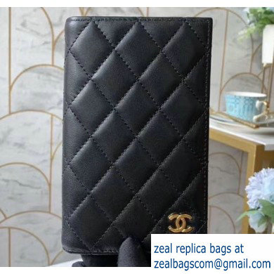 Chanel Classic Passport Holder AP0218 in Lambskin Black/Gold