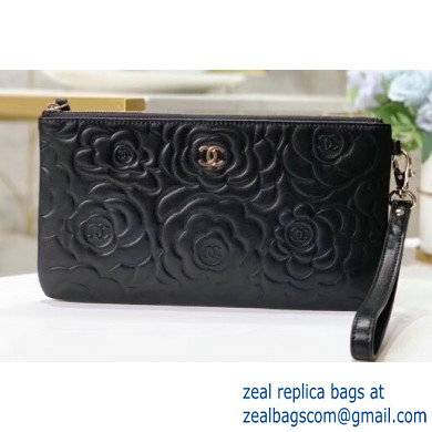 Chanel Classic Pouch Clutch Bag A009 in Camellia Black/Gold