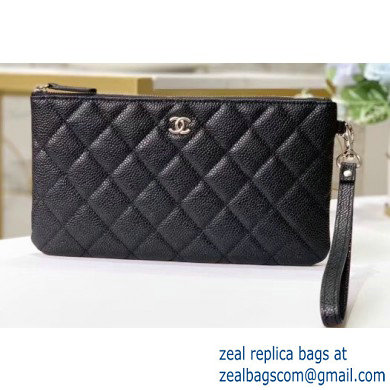 Chanel Classic Pouch Clutch Bag A009 in Grained Calfskin Black