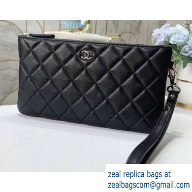 Chanel Classic Pouch Clutch Bag A009 in Lambskin Black