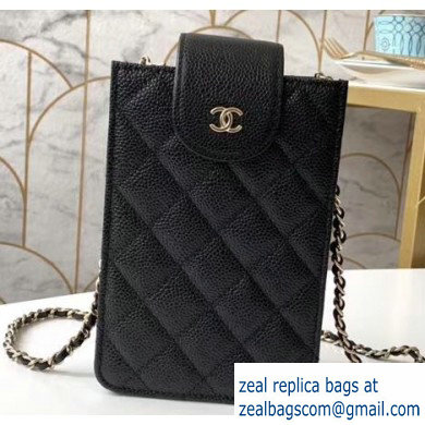 Chanel Clutch with Chain Phone Bag 48231 in Grained Calfskin Black