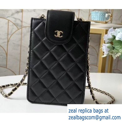 Chanel Clutch with Chain Phone Bag 48231 in Lambskin Black