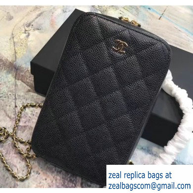 Chanel Clutch with Chain Phone Bag 70655 in Grained Calfskin Black/Gold