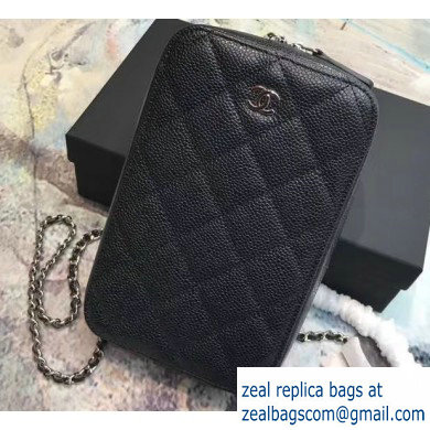 Chanel Clutch with Chain Phone Bag 70655 in Grained Calfskin Black/Silver
