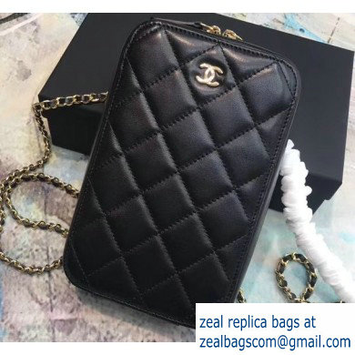 Chanel Clutch with Chain Phone Bag 70655 in Lambskin Black/Gold