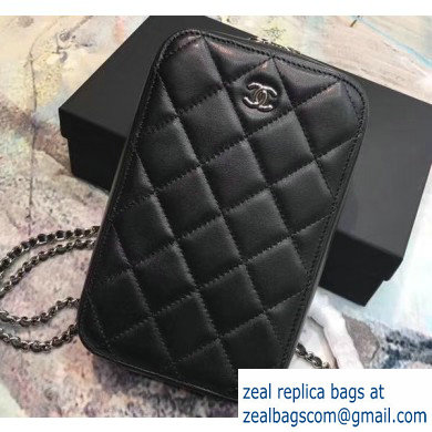 Chanel Clutch with Chain Phone Bag 70655 in Lambskin Black/Silver