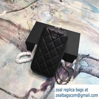Chanel Clutch with Chain Phone Bag 70656 in Lambskin Black/Silver