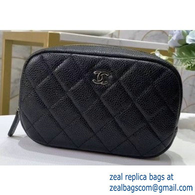 Chanel Cosmetic Case Pouch Clutch Bag 60087 in Grained Calfskin Black A80909