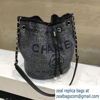 Chanel Deauville Canvas Small Drawstring Bag AS1045 Dark Gray 2019