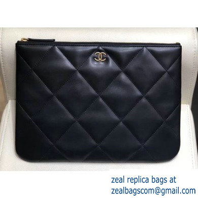 Chanel Maxi Quilting Pouch Clutch Bag Black 2019