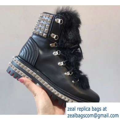 Christian Louboutin King St Combat Boots Black/Hair 2019