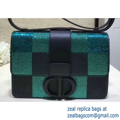 Dior 30 Montaigne Flap Bag with Sequins Check Green 2019