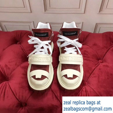 Dolce & Gabbana High-top Sneakers Creamy/Burgundy With Logo 2019