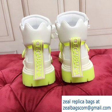 Dolce  &  Gabbana High-top Sneakers Creamy/Fluo Yellow With Logo 2019
