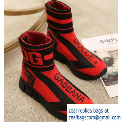 Dolce & Gabbana High-top Sorrento Sneakers Red With Logo 2019