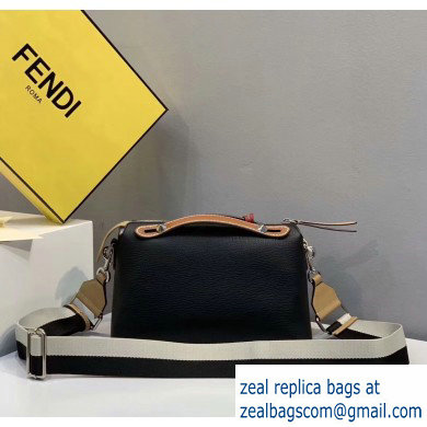 Fendi Grained Leather By The Way Medium Boston Bag Black