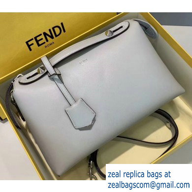 Fendi Leather By The Way Medium Boston Bag Pale Gray