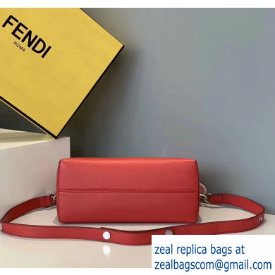 Fendi Leather By The Way Medium Boston Bag Red/Dark Blue/White