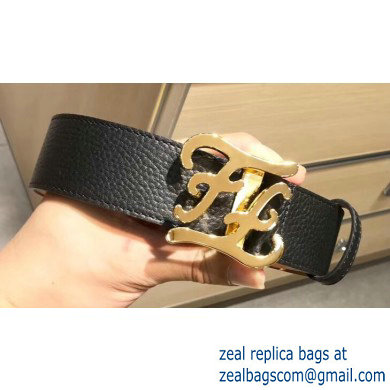 Fendi Width 4cm Leather Belt with FF Karligraphy Buckle Black/Gold