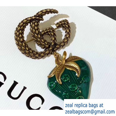 Gucci Double G Strawberry Brooch Green 2019
