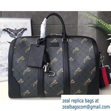 Gucci GG Black Carry-on Duffle Bag 474131 Tiger Print