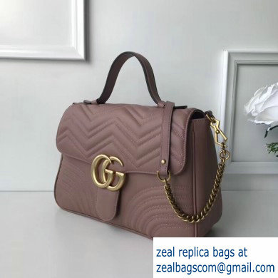 Gucci GG Marmont Medium Top Handle Bag 498109 Nude Pink