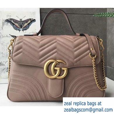 Gucci GG Marmont Medium Top Handle Bag 498109 Nude
